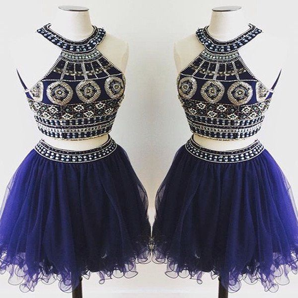 short Homecoming dress,royal blue prom Dress,charming Prom Dresses,two pieces…