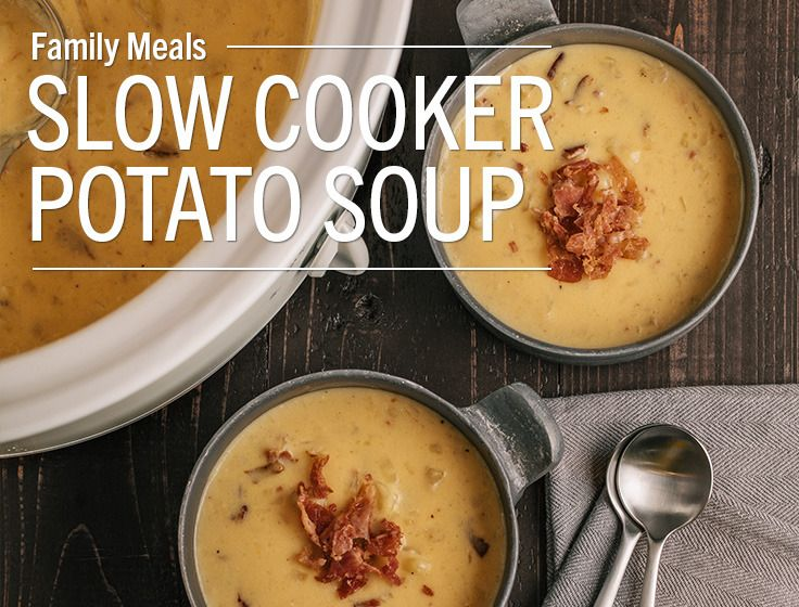 Slow Cooker Potato SoupA creamy, cheesy soup with plenty of bacon! Yukon gold potatoes have the perfect texture and buttery taste for this soup, but Russet potatoes or red potatoes would also work in...