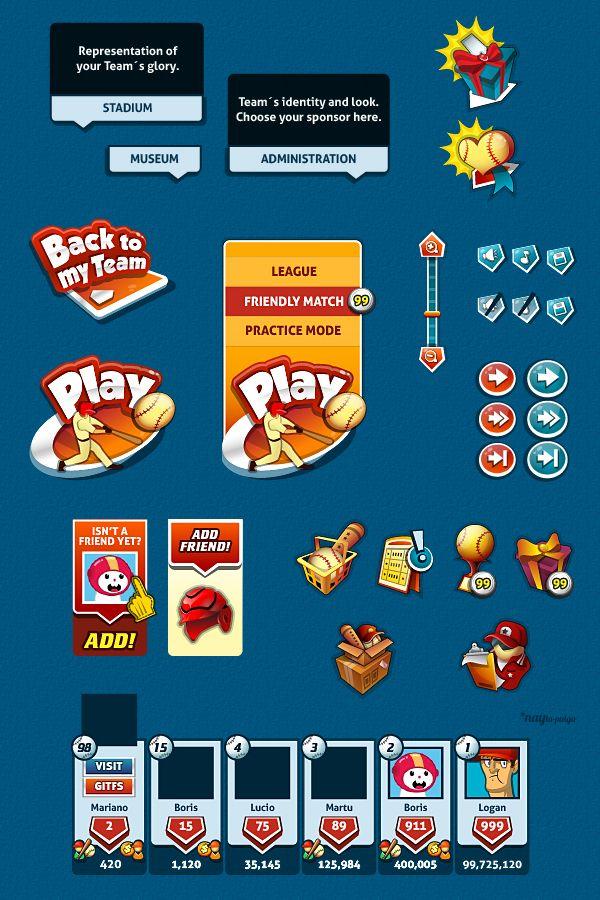 Baseball Social Game | GUI Design by Naida Jazmín Ochoa, via Behance