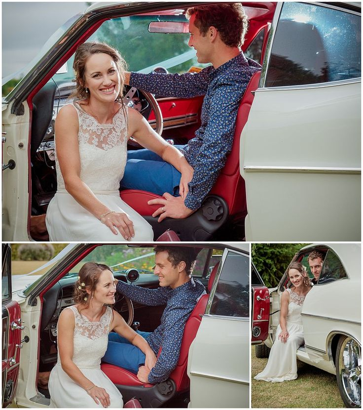 Bride and groom pose for photos by their wedding car captured by Oz of Pip and Oz Wedding Photographers Christchurch