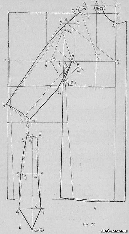 16. Построение чертежа основы женского пальто с цельнокроеными рукавами - Ремонт одежды - Всё о шитье