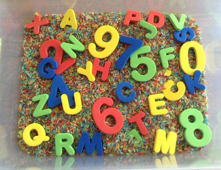 Our Alphabet and Numbers Sensory Bin (Starting Preschool Sensory Bin) - It contains rainbow dyed rice (dyed with kool aid for additional sense of smell), foam letters and foam numbers.  Letters and numbers are from the dollar section at Target - Preschool Activity: Preschool Activities, Sensory Activities, Creative, Foam Letters, Numbers Activities, Child Sen, Alphabet Sensory, Diy Projects, 20 Diy