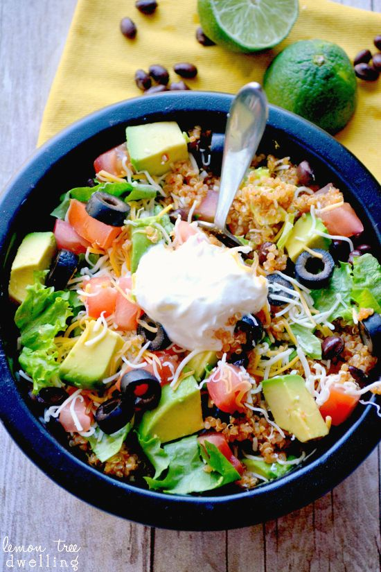 Quinoa Taco Bowls  by lemontreedwelling: A delicious, family friendly quinoa recipe. #Salad #Quinoa #Avocado #Lettuce #Tomato #Black_Beans #Healthy