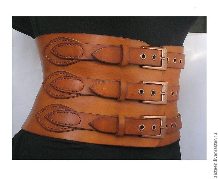 Купить Широкий корсетный пояс из натуральной кожи с узорами - оранжевый, рисунок, кожаный пояс