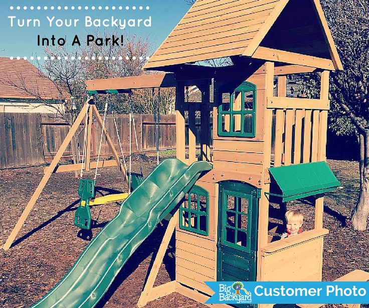 Turn your backyard into a park with a Big Backyard Play Set.  Check out our full selection at . There's something for everyone! #myownpark #backyardfun