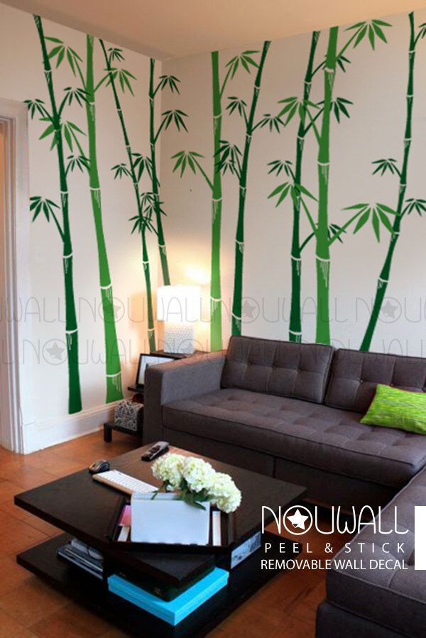 Removable Bamboo Wall Decal Tree Wall Decals Wall Sticker Living Room Wall Decor Wallpaper Art By No Wall Stickers Living Room Bamboo Wall Decor Bamboo Wall #stickers #for #living #room
