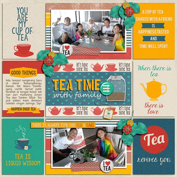 Tea Time [Bundle Pack] by Pixelily Designs. 365Unscripted : Stitched Grids 2 by Traci Reed.