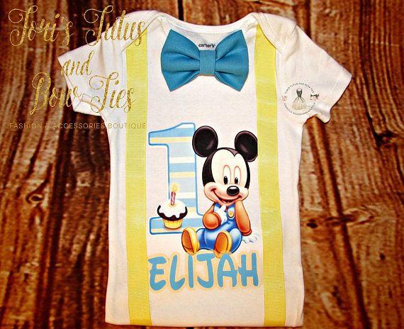 Bebé traje de cumpleaños de Mickey Mouse 1  Bebé camiseta de