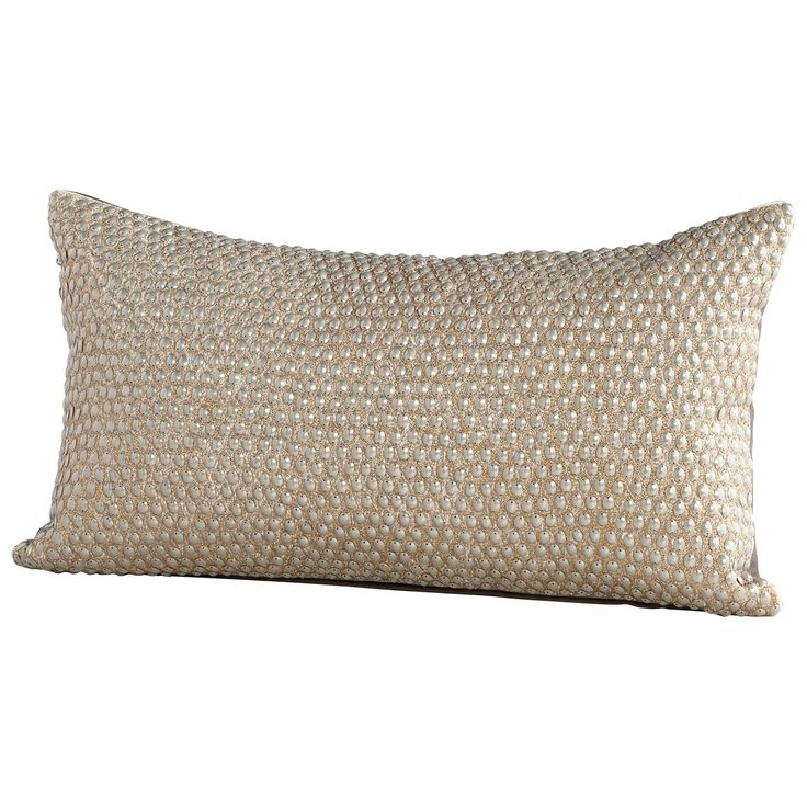 Studded Bolt Textured Gold Rectangular Decorative Throw Pillow by Cyan Design