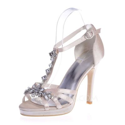 Women's Satin Stiletto Heel Peep Toe Platform Sandals With Buckle Rhinestone (047068273)