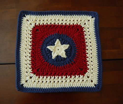 Love this pattern!! I made this afghan block to commemorate our move to Texas; therefore, I attempted to style it like the Texas state flag. I ended it in blue so that it would fit in with the rest...