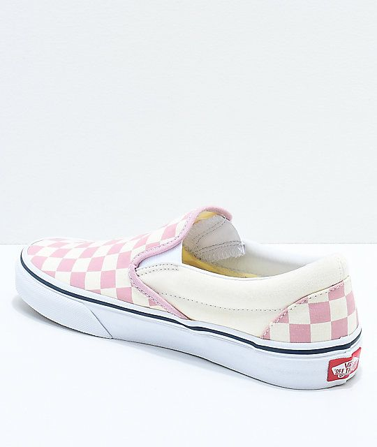 456b0dfb56e0b8 Vans Slip-On Zephyr Pink   White Checkered Skate Shoes in 2019 ...