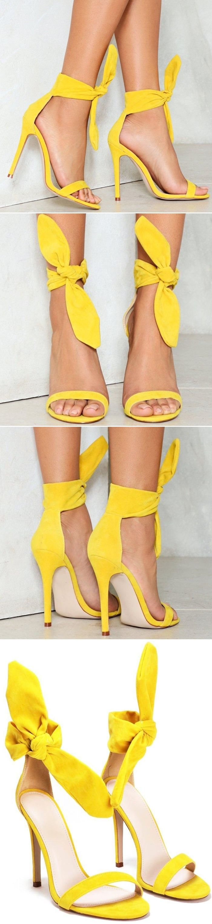 Knot a care in the world. This yellow shoe comes in vegan suede and  features a stiletto heel, tie closure at ankle, and open toe.
