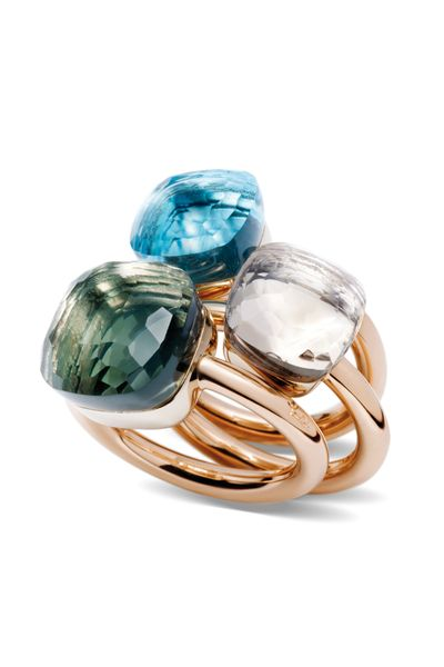 Pomellato's Nudo ring collection is stunning. Available in a plethora of different stones at Oster Jewelers. Starting at $2,350. 18k Rose & White Gold Nudo Rings shown: - Rose de France - Prasiolite -
