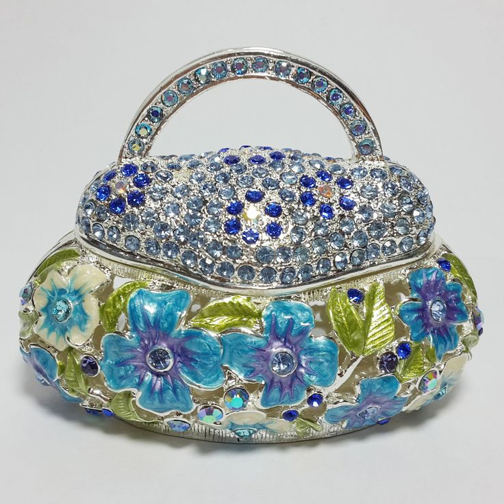 Bejeweled Handbag Trinket Jewelry Box with Blue Crystal Magnetic Cover Figurines