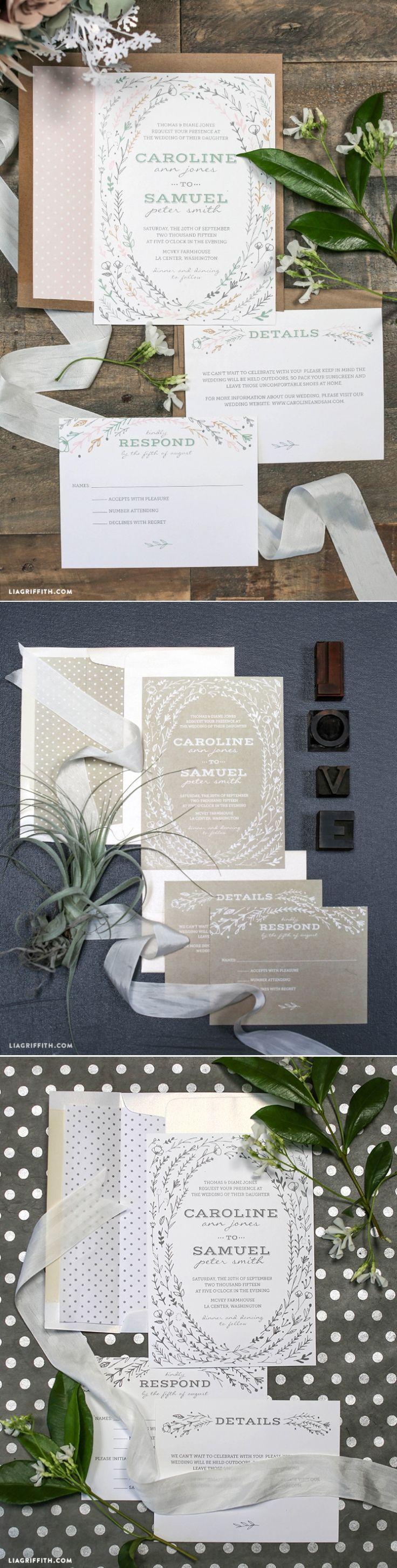 410 best wedding invitations images on Pinterest | Card wedding ...