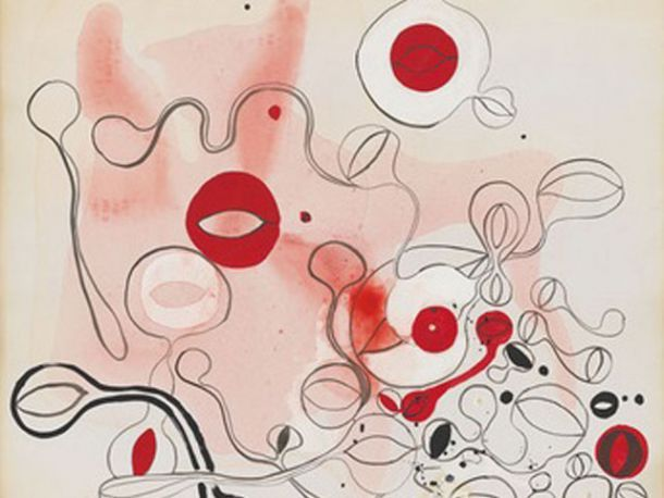Takesada Matsutani, Gutai, 1964, Acrylic, pencil and polyvinyl acetate adhesive on paper, 42 7/8 x 30 3/8 in
