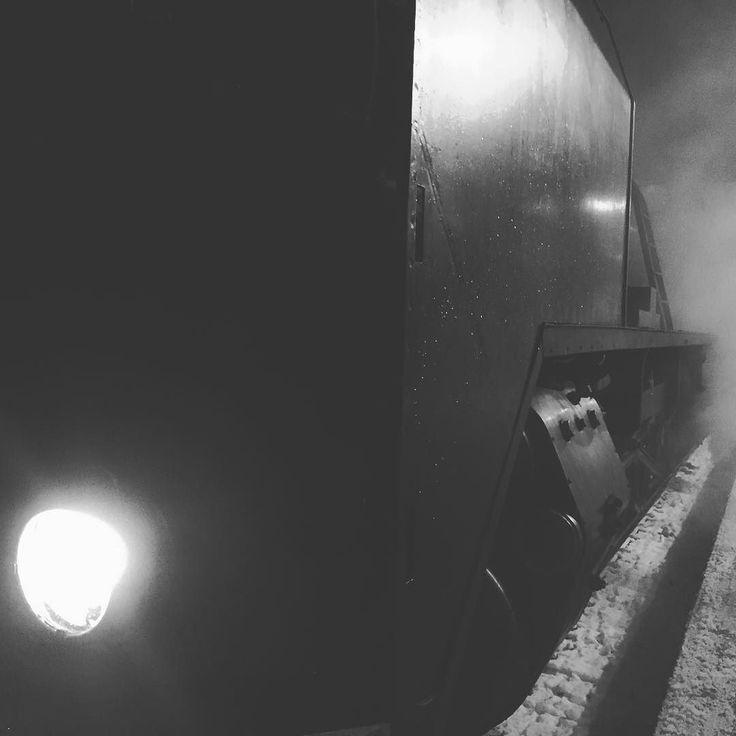 Steam train #ukkopekka1009 today in @visitkouvola #joulupukki on board real Christmas feel Steam Train Snow Santa = Christmas