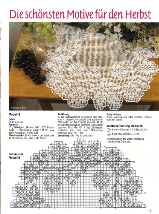 Autumn Leaves Filet Doily (Russian Graph)