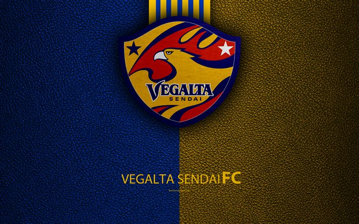 Download wallpapers Vegalta Sendai FC, 4k, logo, leather texture, Japanese football club, emblem, J-League, Division 1, football, Sendai, Miyagi, Japan, Japan Football Championship