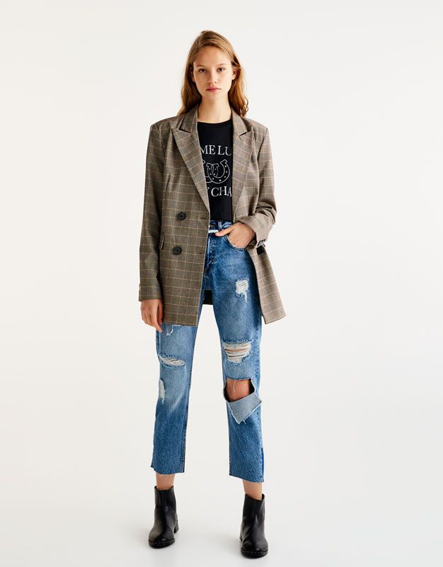Jeans Rectos Rotos Promociones Mujer Pull Bear Mexico Jeans Rectos Ropa Jeans