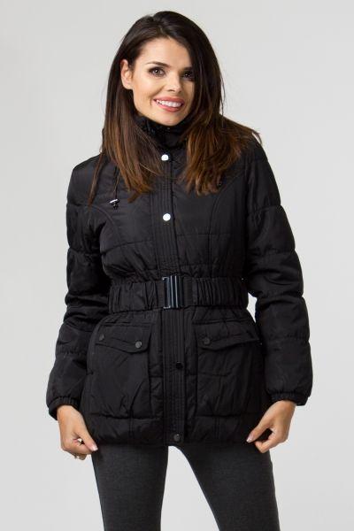 Ciepła kurtka krótka damska czarna z paskiem 410298