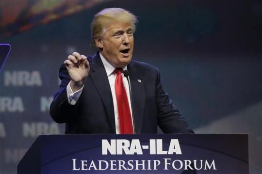 """Donald Trump speaks at the National Rifle Association convention earlier this month in Kentucky.  """"Remember the $500 haircut?"""" quips Gawker's John Cook?  The trail starts with a customer (that tipster) of Ivari International telling Gawker that Trump was also a client."""