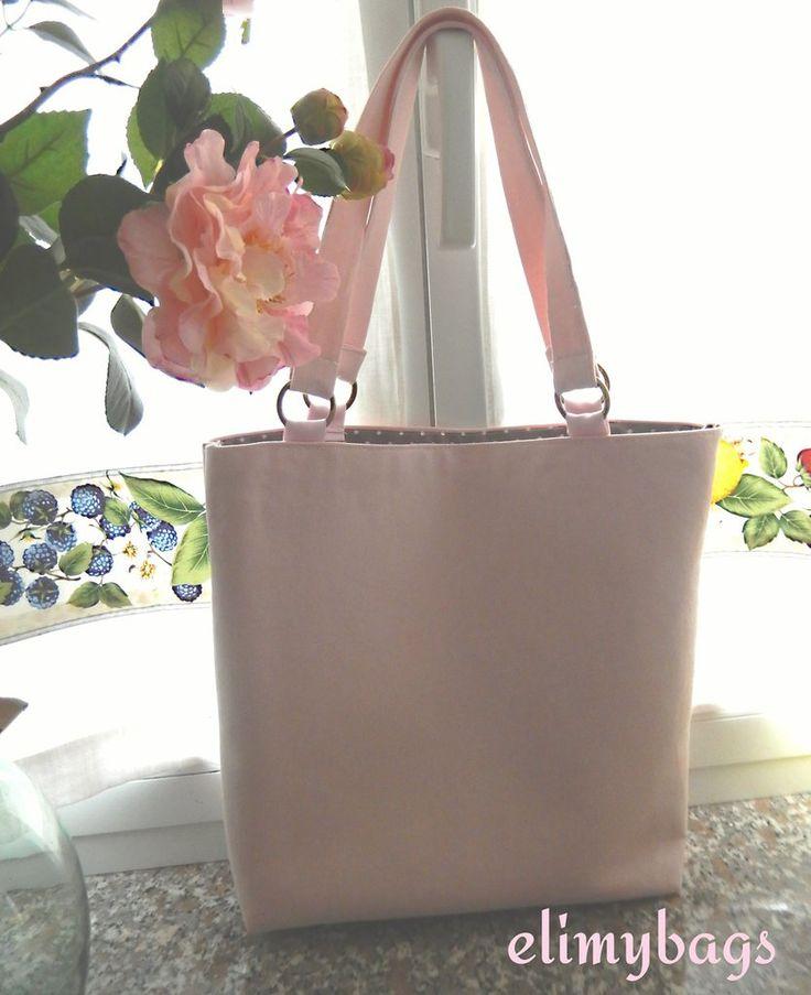 Borsa rosa pastello di jeans con manici a spalla♥, by Elimybags, 38,00 € su misshobby.com