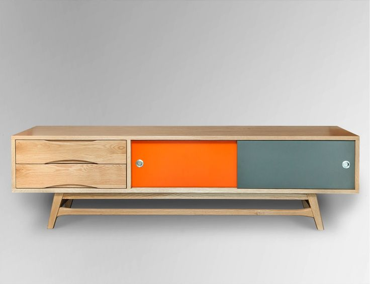 Decorating your home with retro style starts with a statement piece such as our Sixty TV Unit. Paying homage to mid century Scandinavian design, it features clever reversible sliding door panels to keep the look sleek or a little playful. Co-ordinate with an orange or grey sofa and glass side tables and geometric or floral designs in wallpaper and rugs.