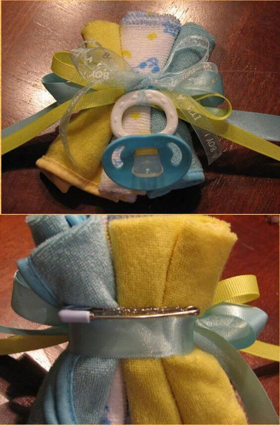 The cutest baby shower washcloth corsage!