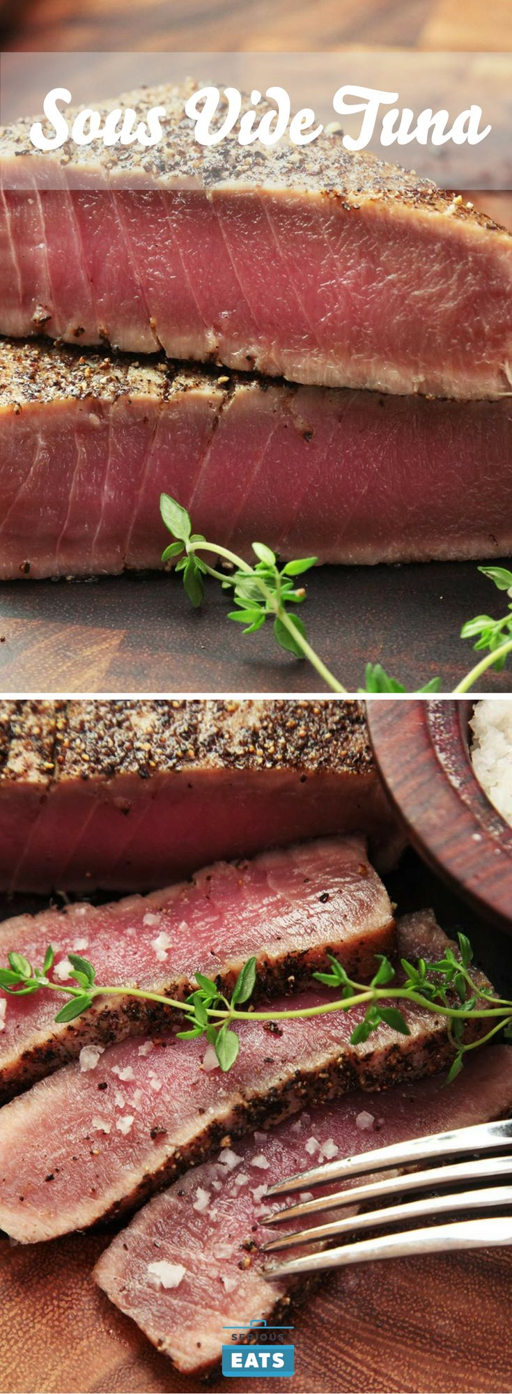 Sous vide is also a great way to prepare tuna to be served nearly raw, sashimi-style, or to be used in recipes where you'd typically use canned tuna, giving you better texture and flavor than any canned option.