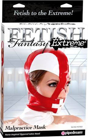 Playing doctor is now kinkier than ever with the Fetish Fantasy Extreme Malpractice Mask! This skin-tight hood is made from high-quality latex that is strong and sleek yet soft against your skin. It features large openings for the eyes and nose, and a small hole over the mouth for easy breathing. The guarded zipper on the back protects your hair and skin while remaining easy to remove. With this stunningly shiny mask, you'll be in control of your patient in no time!