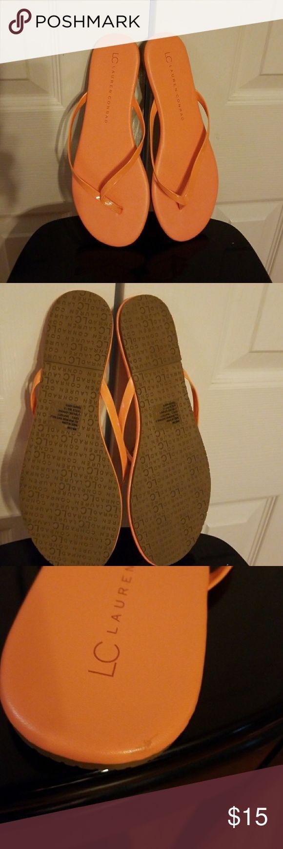 LC Lauren Conrad Flip Flops Barley worn/Orange color/Size 8M/ See Picture #3 a little scratch. LC Lauren Conrad Shoes Sandals