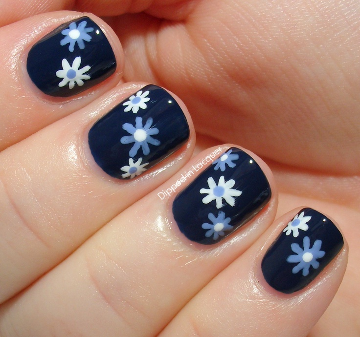 92 best autism awareness nail art images on pinterest nail art simple blue and white flowers on dark blue base nail art design prinsesfo Choice Image