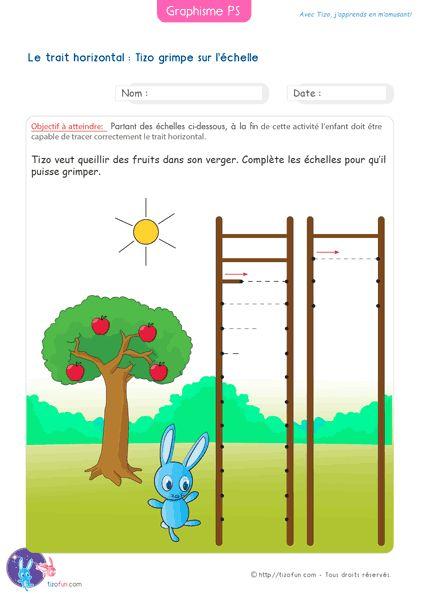 Graphisme Petite Section Ligne horizontale Barres d'échelle. Fiche Maternelle de Graphisme PS pour faire la ligne horizontale en Maternelle Petite Section.