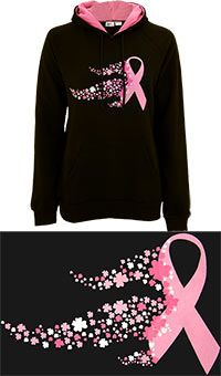 Flower Festival Pink Ribbon Pullover Hooded Sweatshirt at The Breast Cancer Site