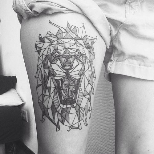 Geometrical And Origami Lion Head Tattoo Perfect Place Tattoos