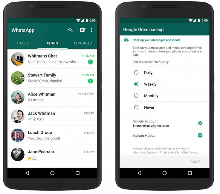 WhatsApp vuelve a activar las copias en Google Drive