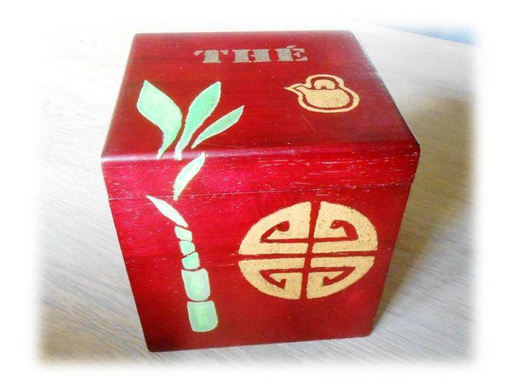 boite à thé bois acajou peinte à la main : Boîtes, coffrets par art-qu-en-ciel