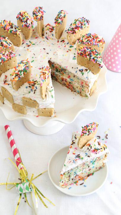 Vanilla dunkaroos sprinkle cake