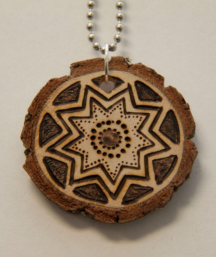 Mandala 5. $18.00, via Etsy.    pyrography, wood burned necklace, handmade