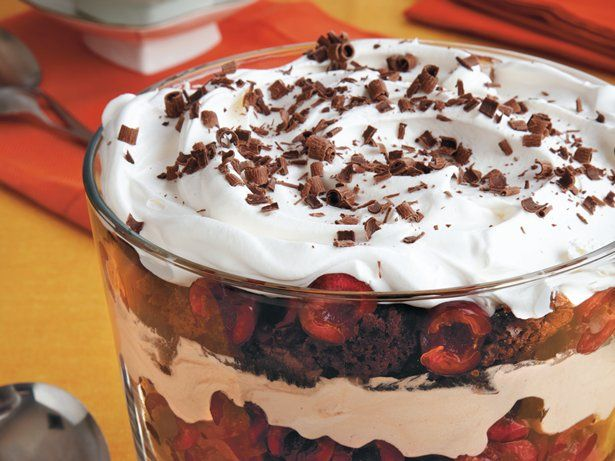 Enjoy this black forest trifle that s layered with brownie pieces ...