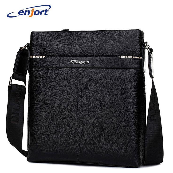 Enjort Genuine Leather Bags Men High Quality Messenger Bags Handbag Crossbody Shoulder Bag For Men casual zipper office bags