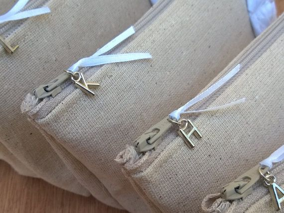 Rustic Linen Bridesmaid Clutches Customizable by GeauxMelange