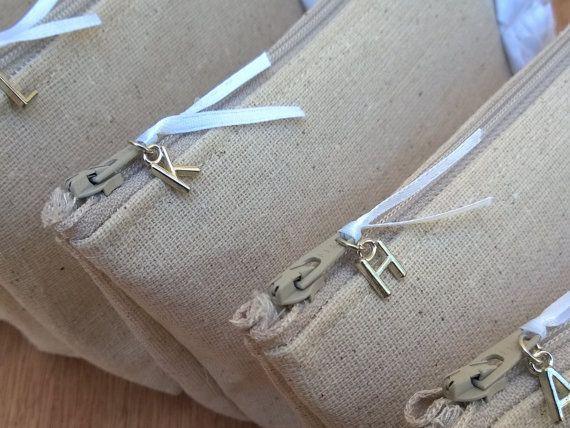 Vintage Lace Make Up Bag Bridesmaid Clutch Set Rustic by SayYouDo