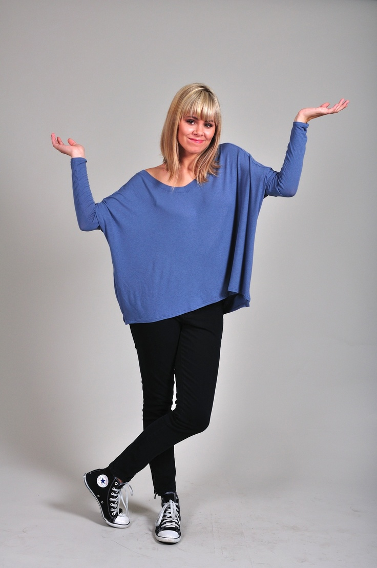 Diligo blue oversized fine jersey knit top | www.diligo.co.za
