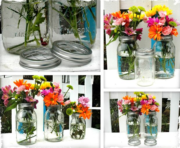 Great flower vase idea.  Anyone know how to cut that metal fence stuff into circles?