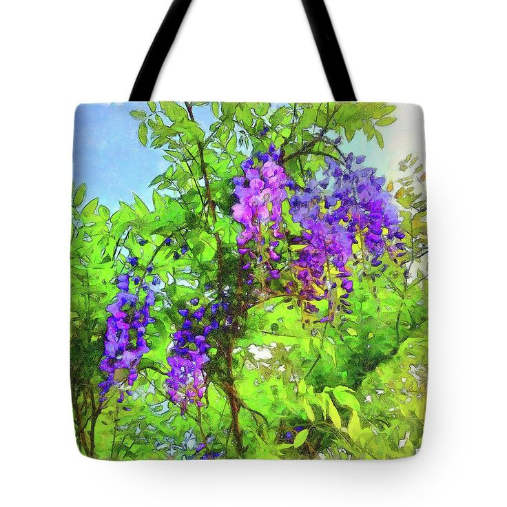 Wisps Of  Wisteria Tote Bag by Leslie Montgomery.  The tote bag is machine washable, available in three different sizes, and includes a black strap for easy carrying on your shoulder.  All totes are available for worldwide shipping and include a money-back guarantee.