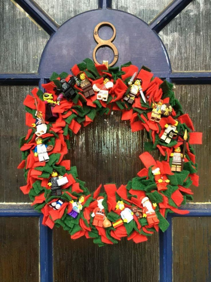 My grown up son wanted a Christmas wreath for his own front door and he loves Lego