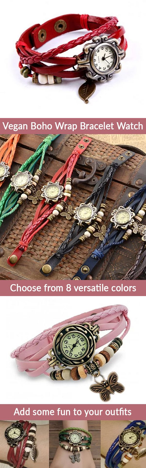 For a limited time, get 80% off our Vegan Boho Bracelet Watch! Available in 8 versatile colors, this beautiful watch will become your favorite accessory. Pair with any outfit and instantly add a Bohomian flair to your day!